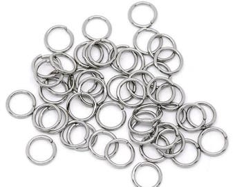 50 pc Silver Tone Open Jumprings 10mm