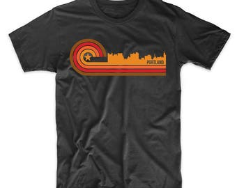 Retro Style Portland Maine Skyline T-Shirt