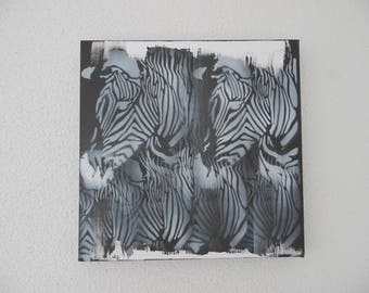 Contemporary painting  with zebra, black and white painting