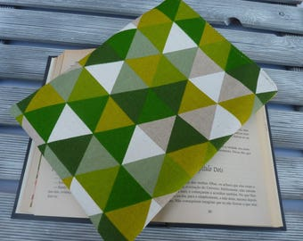 Geometric Book sleeve, Book protector, Book bag, Book lover gift, Green Fabric Book cover, book case, Paperback book cover, reading gift