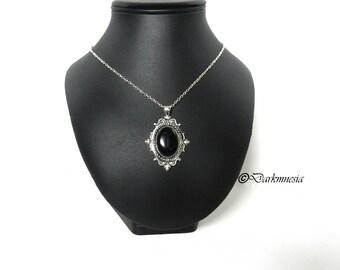 Silver necklace, pendant, medallion, black, goth, gothic, victorian, baroque, elegant