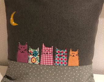 Handmade grey wool cushion, cats under the moon