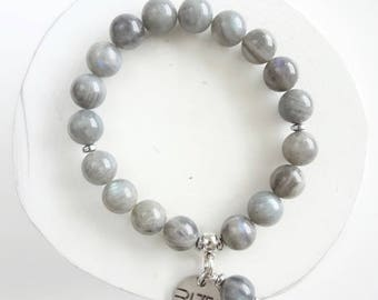Labradorite bracelet gray/silver/gemstone/with pendant/gift for her/stone beads/round/natural stone beads/gift for him/stone for soul