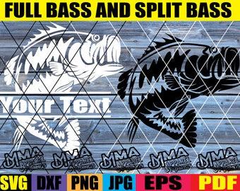 full bass svg split bass svg bass monogram svg bass fish svg fishing SVG files bass fishing svg fishing svg dxg png eps jpg pdf