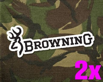 2x Browning (Black) Vinyl Decal Sticker for Car Truck Window Laptop Locker Cool New