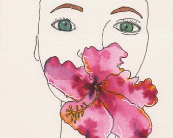 Flower Mouth Face. Fine Art, Watercolor Painting, Gift Art, Small Art, Watercolor, Painting