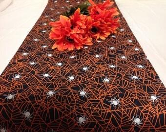 Black and Orange Spider Web with White Spider Tablerunner 13W x 72L Halloween Tablerunner Ding Room Tablerunner Kitchen, Nook, Dresser Party