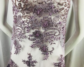 Beaded Fabric - Lt Lilac Design Embroidered Mesh Dress Top Wedding Decoration Veil Nightgown By The Yard
