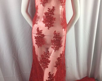 Red Lace Fabric - Corded Flowers Embroidery With Sequins For Wedding Dress Bridal Veil By The Yard