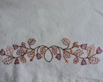 Fall Leaves and Flowers Embroidery Pattern, Autumn Hand-Embroidery Pattern, Fall Colors Hand Embroidery Pattern