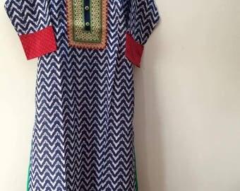 Indian Bollywood Kurti Kurta Top Tunic Block print Embroidery