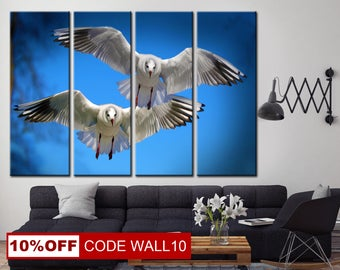 Two Gulls, Birds canvas, Gulls canvas, Nature canvas, Birds wall art, Nature wall art, Birds Print, Gulls wall art, Nature print, Gulls Art