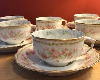 Limoges France Elite Works Bawo Dotter set of 6 Tea Cups and Sauces