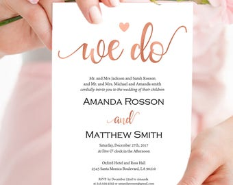 Rose Gold Wedding Invitation - We Do Wedding Invitation - Wedding Invitation Template - Rose Gold Wedding -Downloadable wedding #WDH8R2293