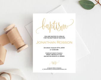 Gold Baptism Invitation - Baptism Invitation Printable - Baptism Invite - Baptism Girl - Baptism Template - Downloadable wedding #WDH900_4