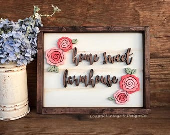 "Handcrafted Wood Sign ""home sweet farmhouse"" Farmhouse Floral Wood Flowers Distressed Rustic Wall Art Home Decor"