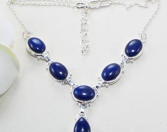 Lapis lazuli necklace - Lapis lazuli jewelry -925 Sterling silver-lapis necklace - lapis jewelry - deep blue stone necklace X911