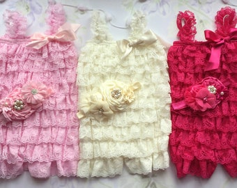 1st Birthday Girl Outfit| Baby Girl Romper| Toddler Romper| Cake Smash Outfit| Petti Lace Romper| Baby Romper| Sitter Romper|