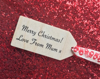 Personalised Wooden Gift Tag, Christmas Tag, Christmas Gift Tags, Holiday Gift Tags, Festive Gift Wrap, Handmade Gift Tags, Luggage Tags