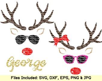 Christmas svg reindeer svg monogram names face svg deer head svg boy girl svg files for cricut silhouette shirt decal designs dxf cut file