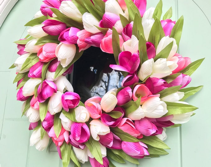 Beautiful purple pink and white tulip spring wreath