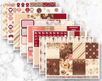 Autumn Roses Weekly Planner Sticker Kit