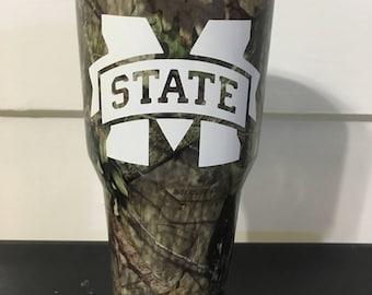 MSU Mississippi State University Bulldogs M State Mossy Oak Camoflauge Ozark Trail 30 oz tumbler NEW
