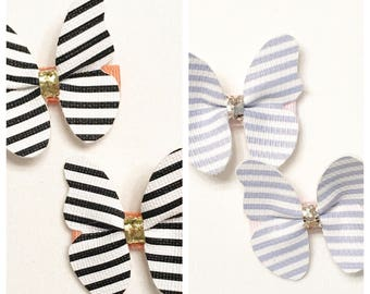 Butterfly clip, striped butterfly clip, butterfly clips