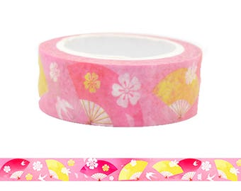Japanese Pink Fan Pattern Washi Tape