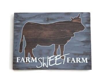 Cow Sign, Farm Wall Decor, Farm Sweet Farm, Rustic Farm Wall Hanging, Dairy Farm Decor, Antique Farm Sign, Grandpa Gift, Farm Animal Art