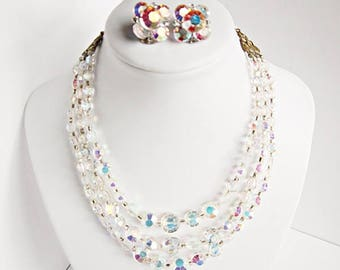 Aurora Borealis Faceted Crystal Necklace & Earrings Set Circa 1950's