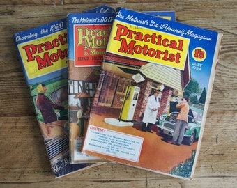 3 PRACTICAL MOTORIST MAGAZINES 1950's