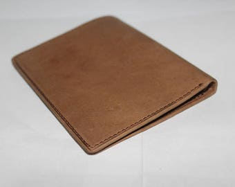 Personalized Slim Leather Wallet Men, Simple Leather Wallet #003 Brown