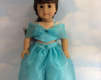 """India costume in aqua blue fits 18"""" American girl dolls and dolls similar to size"""