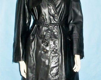SERAPHIM made France leather trench jacket size 40 fr