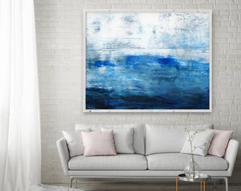 Abstract Painting, Extra Large Print Giclee of Original Wall Art, Navy Blue Indigo White, Minimalist Landscape Reproduction Art, Large Art