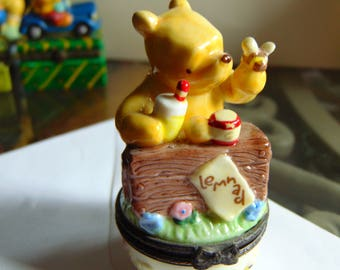 Winnie the Pooh trinket box by midwest of Cannon Falls selling lemonadewith bee  as a partner