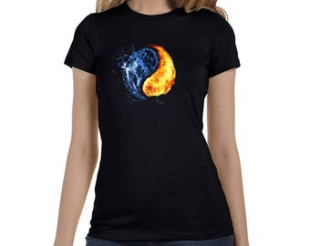Abstract Water and Fire Women's Black T-Shirt