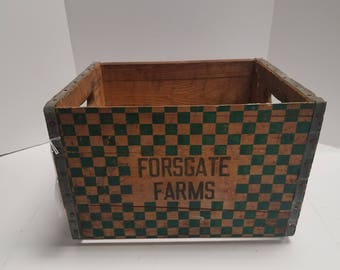 Vintage Antique Milk Crate  Forsgate Farms Jamesburg NJ, Wood Crate - Dairy - Storage - Display - Farmhouse - Country home Decor