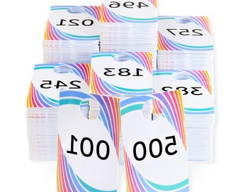 001-999 Plastic Live Sale Tags Reg& Reverse Mirror Image Backwards Numbers, Online Facebook Sales Reversed Hanger Cards, Choose a Set of 500
