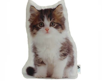 Long Hair Tabby Shaped Cat Cushion, Handmade By Creature Comforts Direct, Cat Cushion, Cat Pillow, Cat Gift, Animal Cushion