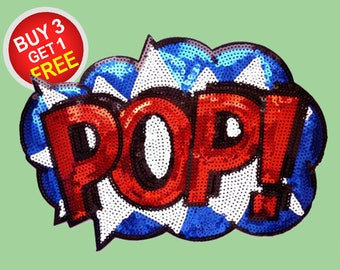 Pop Art Sequin Patches Large Iron On Patch