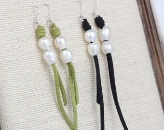 Pearl earrings,long pearl earrings,white pearl earrings,dangle pearl earrings,bridesmaid earrings