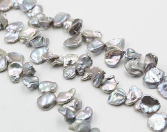 15 - 16 mm gray coin freshwater pearls, gray coin pearl,15'' full strand, coin pearl strands, pearl wholesale