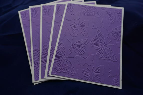 CLEARANCE of 5 purple butterfly embossed card set.
