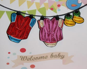 Welcome Baby - Baby shower card or Pregnancy announcement (clothes line, elephant, boy or girl)