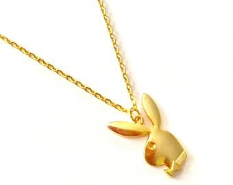 Gold Playboy Bunny Necklace