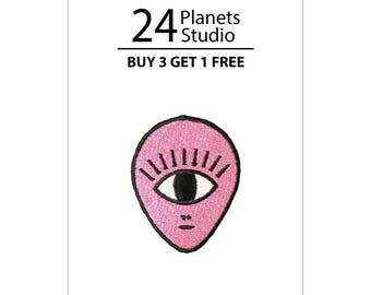 Mini Alien One Eye Iron on Patch by 24PlanetsStudio