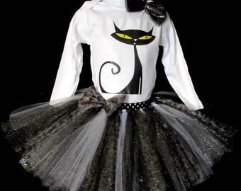 Black Cat Tutu Dress, Halloween Tutu Dress, Black Tutu, Cat Halloween Tutu Costume, Kitty Cat Tutu Outfit, Halloween Tutu Outfit