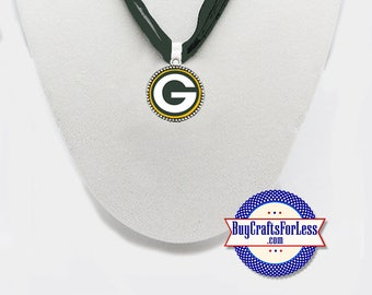 GREEN BaY Football PENDaNT, CHooSE Logo and Ribbon Cord - Super CUTE!  +FREE SHiPPiNG & Discounts*